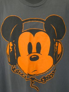 Disney Mickey Mouse Tee Shirt XL Gray Orange Face Music Headphones Cotton #Disney #ShortSleeve