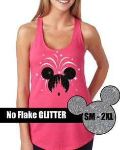 GLITTER Celebrate Disney Is My Home Tank  // Disneyland Shirt // Disney Cinderella Castle Disney Clothing (69-NL-33) Black and White Glitter