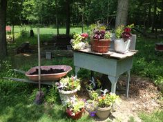 Galvanized sink used as a potting table