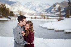 Wintery Mountain Colorado Engagement Pictures. Grand Lake, CO, Winter Engagement. Amy Caroline Photography
