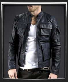 100% Midnight Blue Italian nappa leather. Short waist length leather jacket. Luxury blue lining. Two interior pockets, and 5 outer. Model has 40 inch chest, wearing size medium for a vintage slim fit. £310.00