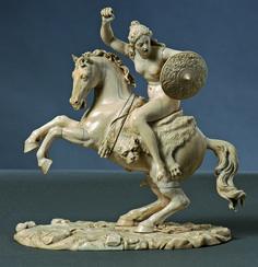 Amazon on horseback, Germany, 18th century. Ivory. 23.5 x 22 cm. Start price: 15,000 Euro.