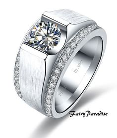 Mens 1 Ct Round Cut lab made Diamond Tension by FairyParadise, $89.00  Unique yet cool