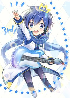 Tags: Anime, kikuchi (kkc), Vocaloid, KAITO, Diamond Background, Knee Boots, Holding Object