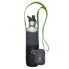 """ChicoBag Bottle Sling rePETe - This 50% recycled-material sling accompanies your favorite reusable bottle near or far; backpacking, concerts or your daily commute. Holds most bottle sizes, including 27 oz and 64 oz, and folds into its integrated """"stuff pouch"""" when not in use. Features a large pocket for your phone or wallet, and smaller pockets for lip balm and other mini must-haves. Bag: 4.5""""w x 10""""h Pouch: 4.5""""w x 6""""h (approx.) Limestone. Bottle not i..."""