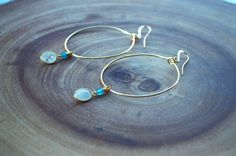 Teal Jade Bead and Gold finish faceted oval shaped Moonstone Hoops by Girlinthefogdesigns on Etsy