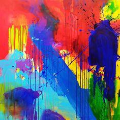 Peindre avec exaltation avec des couleurs vives, un éloge à la vie et à la liberté Peinture abstraite acrylique, aérosol, encres Format 150 x 150 cm  2020 Conscience, Art Original, Service, Oeuvre D'art, Les Oeuvres, San, Artwork, Painting, Large Canvas