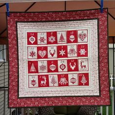 Red and White Scandinavian style quilted Advent Calendar