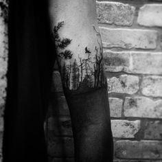 Forest Blackout Tattoo #foresttattoo #blackouttattoo #tattoo