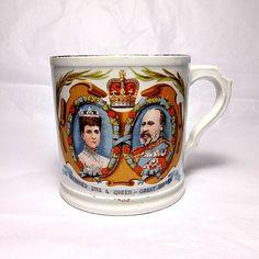 Coronation 1902 King Edward VII, Antique Cup, Vintage British Royal Ware, Coffee Mug, Royalty Mug, Queen Alexandra, King's Coronation Cup by TheRoyalBritishFox on Etsy https://www.etsy.com/listing/253671268/coronation-1902-king-edward-vii-antique