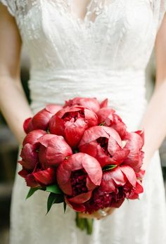 Wedding - Floral - Bouquet - Arrangement - vibrant red peonies captured by Brklyn View Photography Red Bouquet Wedding, Red Wedding, Wedding Colors, Wedding Flowers, Bridal Bouquets, Rustic Wedding, French Wedding, Burgundy Wedding, Wedding Dresses