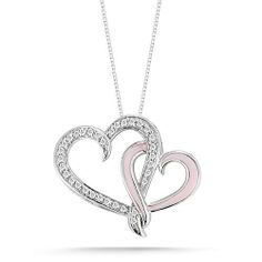 "10k White Gold Pink Enamel with Diamonds Double Heart Pendant Necklace (1/10 Cttw I-J Color, I2-I3 Clarity), 18"" Amazon Curated Collection. $210.00. Made In India. All our diamond suppliers certify that to their best knowledge their diamonds are not conflict diamonds. The total diamond carat weight listed is approximate. Variances may be up to .05 carats."