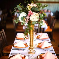 tall wedding centerpiece - gold vase - blush and white flowers - www.bellacalla.com - Bella Calla - Denver Vail Aspen Florist