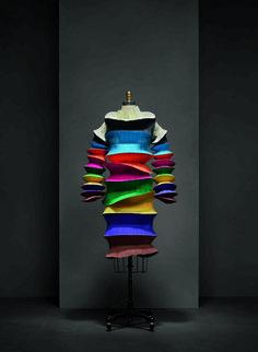"Issey Miyake (Japanese, born 1938) for Miyake Design Studio (Japanese, founded 1970). ""Flying Saucer"" dress, spring/summer 1994. Courtesy of The Miyake Issey Foundation | Photo © Nicholas Alan Cope. #ManusxMachina #CostumeInstitute"