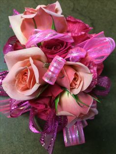 shades of pink spray roses  by Crickets Flowers Lexington Ma 781-861-1030 www.cricketsflorist.com