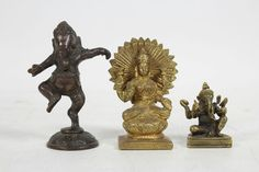 3 Hinduism Deity Lakshmi Gods Wealth Fortune Prosperity Ganesha Figurines Lot