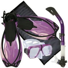 PROMATE Snorkeling Scuba Dive Scanner Mask Fins Dry Snorkel Gear Set w/ Mesh Bag $49.95