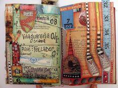 art journal pages by Georgina Ferrans Art Journal Pages, Art Journals, Visual Journals, Moleskine, Wreck This Journal, Creative Journal, Creative Art, Altered Books, Altered Art