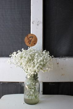 10 rustic table numbers on a stick . country barn table numbers . wedding signs on kraft paper . natural / stained table centerpieces on Etsy, $24.00
