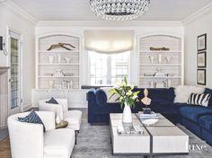 Color Pop Blue Velvet Sofa in White Living Room - Luxe Interiors + Design Glam Living Room, Living Room Sets, Living Room Modern, Living Room Decor, Small Living, Living Spaces, Living Area, Blue And White Living Room, White Rooms
