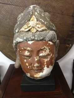Early 1800's Buddha Head with Stand  2' Tall   $750  Paul Ashby at Lucas Street Antiques  2023 Lucas Street  Dallas, TX 75219