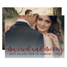 Married And Merry Red Calligraphy | Newlywed Photo Card
