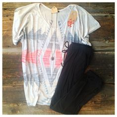 """What's your plans this weekend? Do it in style with the cute comfy outfit. Be relaxed or throw on a pair of heals and go out in style. Aztec Dolman Top $24.95, Black Soft Jogger Pants $19.95, Pendant Necklace $8, and Earrings $9. Remember """"Spend $35, Get $5""""!! #seasonsboutique #spend35get5 #outfit #aztec"""