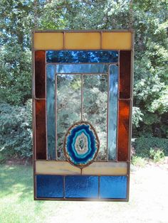 Lake Mead @ Sunset - Cobalt Blue Agate w/Blue and Amber Glass:  Stained Glass Panel