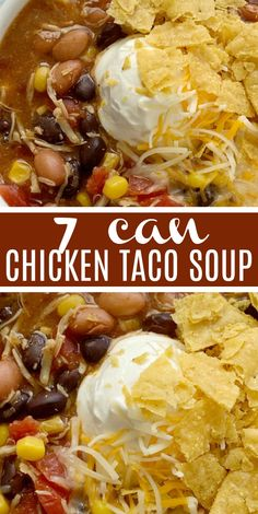 French Delicacies Essentials - Some Uncomplicated Strategies For Newbies 7 Can Chicken Taco Soup 7 Can Soup Recipe Soup Recipe Dinner Does Not Get Any Easier Than This 7 Can Chicken Taco Soup Dump 7 Cans Into A Pot Plus Some Seasonings And That's It Serve Crock Pot Recipes, Can Chicken Recipes, Easy Soup Recipes, Gourmet Recipes, Mexican Food Recipes, Cooking Recipes, Easy Taco Soup, Keto Recipes, Easy Chicken Tortilla Soup