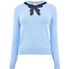 Oasis Jackie Embellished Bow Knit Jumper (175 PEN) ❤ liked on Polyvore featuring tops, sweaters, women knitwear, jumpers sweaters, knit jumper, blue jumper, knit top and embellished sweaters