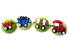 train buttons  train shaped buttons handmade por JustFingerPrint, $10.00