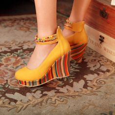 Hot-Womens-Fashion-High-Wedge-Heel-Platform-Beaded-Round-Toe-Pull-On-Shoes-Pumps