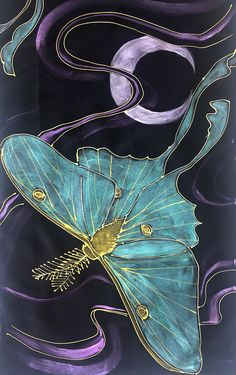 Silk Scarf Black Luna Moth, Hand painted Silk Scarf Luna Moth Art, Mint Green and Gold Moon Goddess Luna Moth, Takuyo, Made to order Wall Art Wallpaper, Batik Art, Dragonfly Art, Hand Painted, Painted Silk, Fabric Painting, Illustrations, Japanese Art, Textile Art