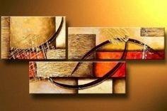 Amazon.com: 100% Hand Painted Art Abstract Art Modern Oil Painting on Canvas Wall Art Home Decoration 3 Piece Art on Canvas Stretch and Ready to Hang: Home & Kitchen