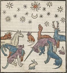 """Артефакты, диковинки, интересности... An incredibly striking engraving of animals under a night sky (including a depressed looking unicorn) from Antoine Vérard's 1494 L'Art de bien vivre et de bien mourir (""""The Art of Living Well and of Dying Well"""")."""