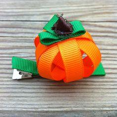 3D Pumpkin Hair Clip $4.00 www.facebook.com/tiedupwithbows