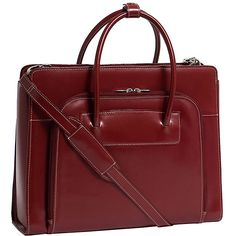 This red laptop tote bag for women is perfect for travel or trips to and from the office. The bag features media storage space, a zipper opening for the laptop compartment, nonslip straps, a compartment to hold documents, and a laptop sleeve.