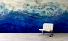 Waiting to Surface Contemporary Blue Wallpaper Mural by Melissa Renee fieryfordeepblue Art & Design seen at Creator's Studio, Helsinki | Wescover Accent Wallpaper, Ocean Wallpaper, More Wallpaper, Creator Studio, Perfect Wallpaper, Wall Installation, Blue Wallpapers, New Artists, Designer Wallpaper