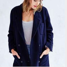 Take 30% off Urban Outfitter Wool Pea Coat Make an offer! 30% off Bundles! Urban Outfitters Label BDG Navy Blue coat! Buttons down front with 2 Parker front pockets. Brand new with tags! Size medium. Retails $179! I'm selling this to the first reasonable offer i receive! Feel free to make an offer & it's yours! Get an extra 30% off all bundles of only 2 or more w/ the new bundle feature! Closet Cleanout Sale! Hundreds of items available! Everything must go! Urban Outfitters Jackets & Coats