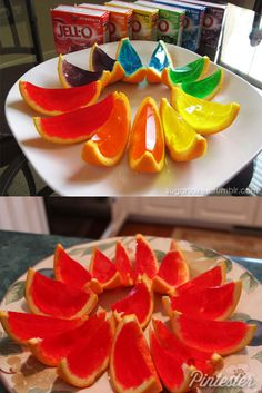 Jello in orange peels. It sorta works, and you can put vodka in it, so WIN.