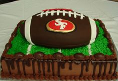 Groom's Cake Chocolate cake with chocolate ganache. Football covered in chocolate fondant and decorated with SF Chocolate Fondant, Chocolate Ganache, Pretty Cakes, Beautiful Cakes, Football Grooms Cake, Football Cakes, 49ers Cake, Sport Cakes, Cake Central