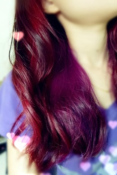 My new purple and red dipdyed hair <3