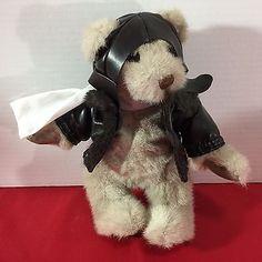"Vintage 1987 Gund Bialosky 9"" Plush Aviator Teddy Bear w/ Bomber Jacket & Hat"