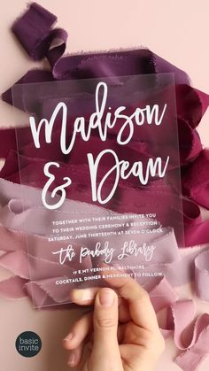 Personalize a Marker Script Clear Wedding Invitation instantly online and then send them out to your friends and family! Acrylic Wedding Invitations, Graduation Party Invitations, Simple Wedding Invitations, Elegant Wedding Invitations, Wedding Stationary, Invites, Marker, Invitation Examples, Custom Stationery