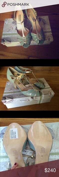 BHLDN Mimosa Mint Peep Toe Designed by Rachel Simpson, size 36, never worn, with box. Bought off ebay but sadly one size to big for me. They are in the original  box with toe tissue paper and protective plastic bags. Just selling for what I payed to go towards the right size.  Selling for cheaper on MERC! Anthropologie Shoes Heels