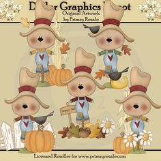 Scarecrow Bears - Clip Art - $1.00 : Dollar Graphics Depot, Quality Graphics ~ Discount Prices