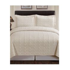 Compass Pebble King Size 3 piece Quilted Coverlet Set in Ivory #Compass