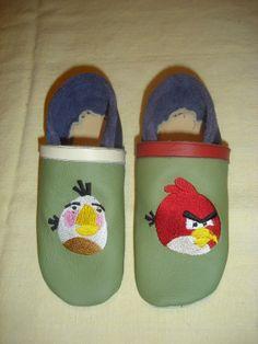 Puschen, Leder, Klimperklein, Angry Birds