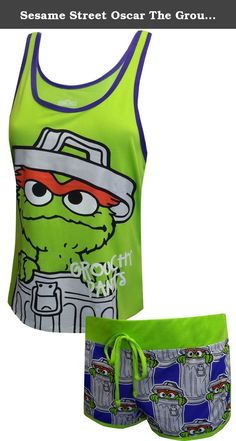 Sesame Street Oscar The Grouch Shortie Pajama Set for women (Large). Awesome! This pj set for women features Sesame Street's Oscar The Grouch. Updated styling on this slouchy tank and a bold image look great. The tank is longer in the back than the front. The wide elastic waist shorts have pictures of Oscar peeking out of his garbage can. Machine washable, junior cut.