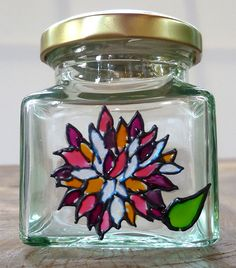 Designer Hand Painted Glass Pink Chrysanthemum Jar by HandPaintedJar on Etsy